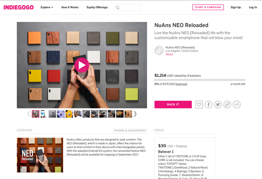 "<b style=""background-color:yellow;"">NuAns</b> NEO [Reloaded]がグローバル展開を目指し、Indiegogoでファンディングを開始"