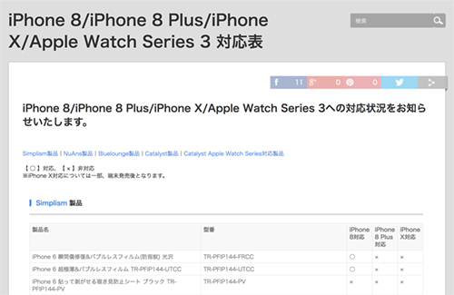 当社製品のiPhone 8/iPhone 8 Plus/iPhone X/Apple Watch Series 3対応について