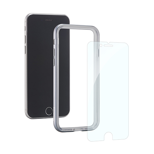 [Turtle Bumper Pro] Alminium Bumper and Tempered Glass Set for iPhone 8/7 Silver