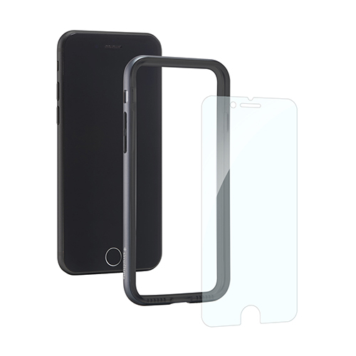 [Turtle Bumper Pro] Alminium Bumper and Tempered Glass Set for iPhone 8/7 Space Gray