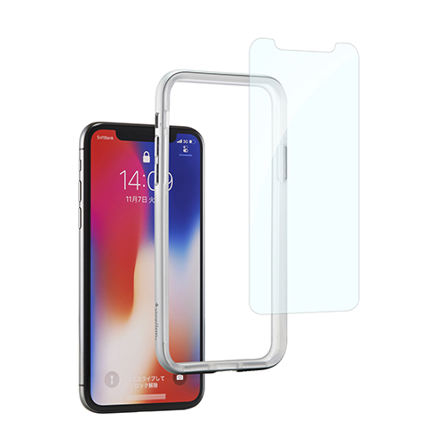 [Turtle Bumper Pro] Alminium Bumper and Tempered Glass Set for iPhone X Silver
