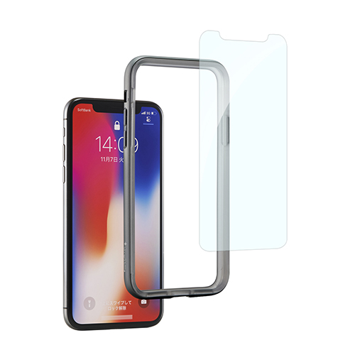 [Turtle Bumper Pro] Alminium Bumper and Tempered Glass Set for iPhone X Space Gray