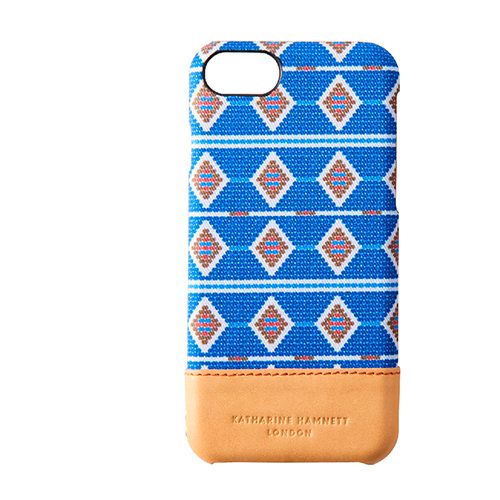 [KATHARINE HAMNETT LONDON×Simplism] Rear Twotone Case for iPhone 7 African Blue x Tan