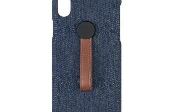 iPhone XR [NUNO] ハンドルリング付きファブリックケース – ブルー