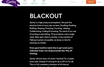 Quirkyのユニークな働き方「Blackout」