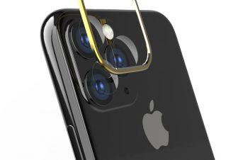 iPhone 11 Pro Max [Lens Bumper Plus] カメラレンズ保護アルミフレーム&ガラスコーティングフィルムセット – ゴールド