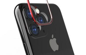 iPhone 11 Pro Max [Lens Bumper Plus] カメラレンズ保護アルミフレーム&ガラスコーティングフィルムセット – レッド