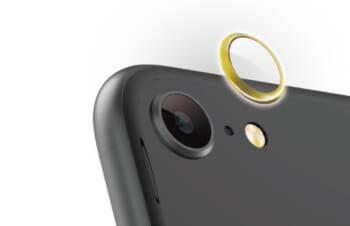 iPhone SE(第2世代)/ 8 [Lens Bumper Plus] カメラレンズ保護アルミフレーム&ガラスコーティングフィルムセット – ゴールド