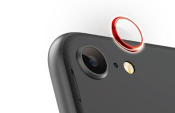 iPhone SE(第2世代)/ 8 [Lens Bumper Plus] カメラレンズ保護アルミフレーム&ガラスコーティングフィルムセット – レッド