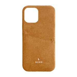 iPhone 12 Pro Max用ケース [NUNO] カードポケット付き本革バックケース – ブラウン