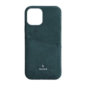 iPhone 12 Pro Max用ケース [NUNO] カードポケット付き本革バックケース – ブルー